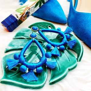 Cerulean Thread and Fringe Statement Earrings
